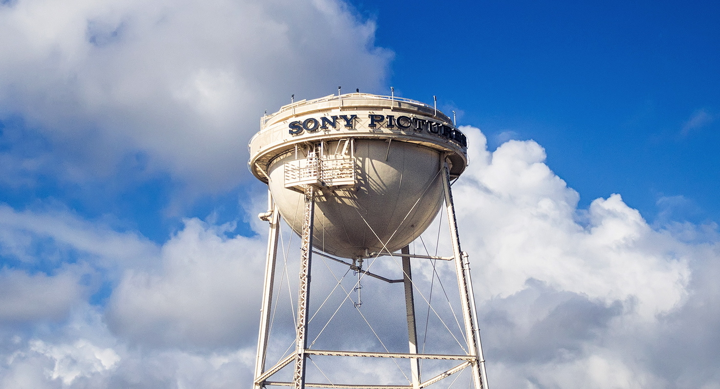 Sony Pictures Studios water tower in the clouds above Culver City, CA.